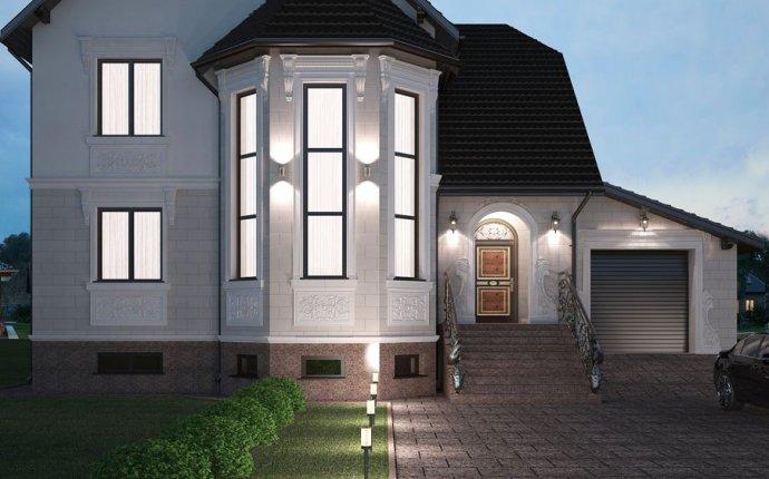Дизайн проект фасада современного дома в стиле классика | Фасад
