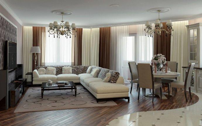 Дизайн столовой гостиной в частном доме: деревянном, загородном
