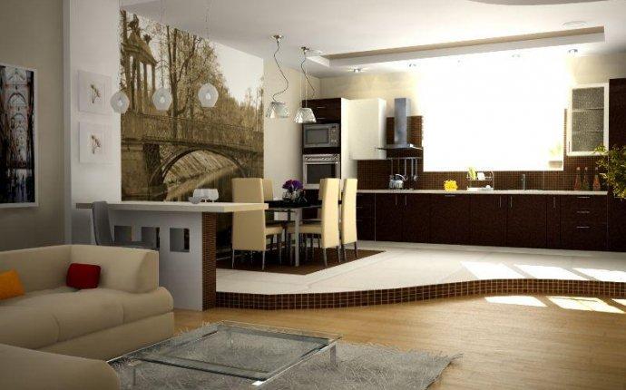 интерьера кухни-гостиной в частном доме фото